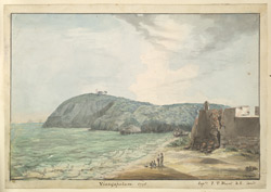 f.25   'Vizagapatam, 1795. Captn J.T. Blunt, B.E.fecit.'  Seashore with fort.